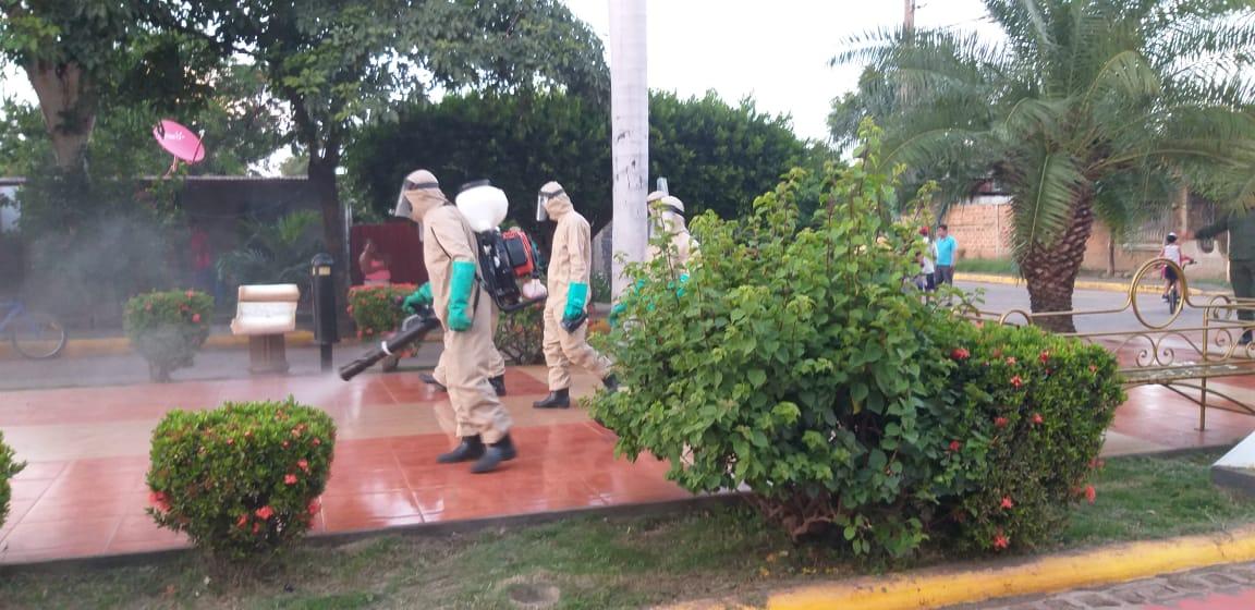 Cuerpo castrense realiza jornada de desinfección ante el COVID-19 en Nagarote