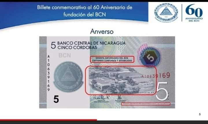 BCN emite nuevo billete de 5 córdobas y monedas conmemorativas en su 60 aniversario