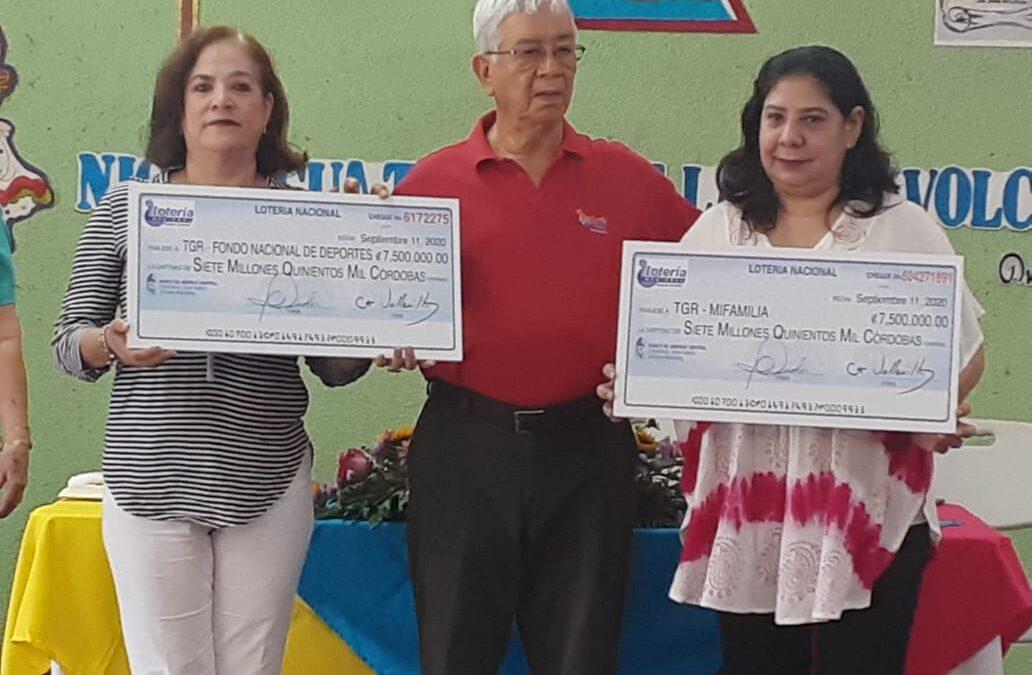 Lotería Nacional realiza la novena entrega de utilidades a Mifamilia e Instituto de Deportes