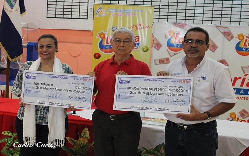 Lotería Nacional entrega 15 millones de córdobas en utilidades correspondiente al mes de octubre