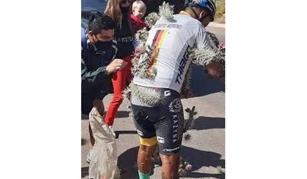 Ciclista cae sobre cactus