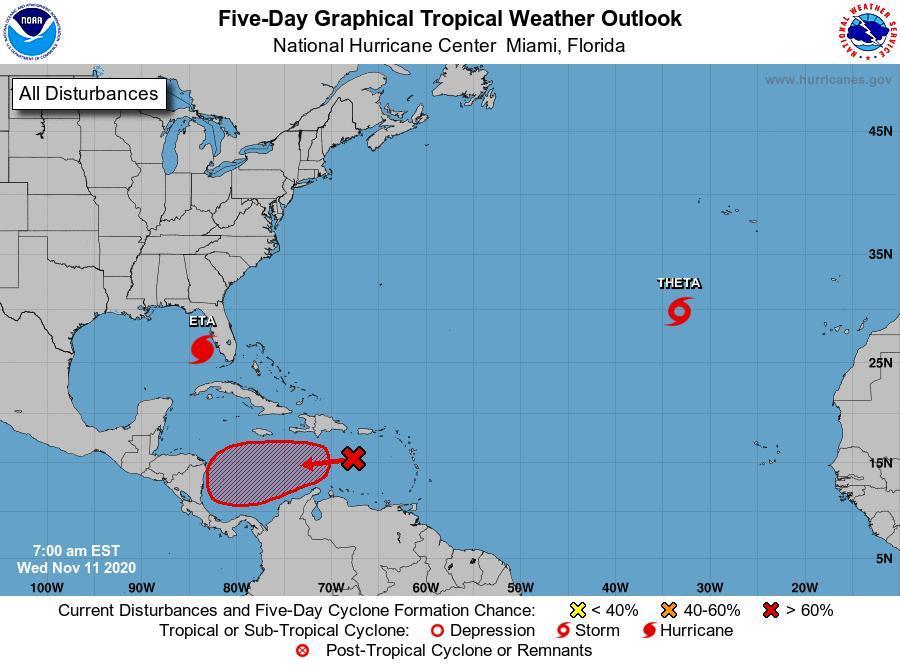 Nicaragua atenta a disturbio atmosférico en el Mar Caribe