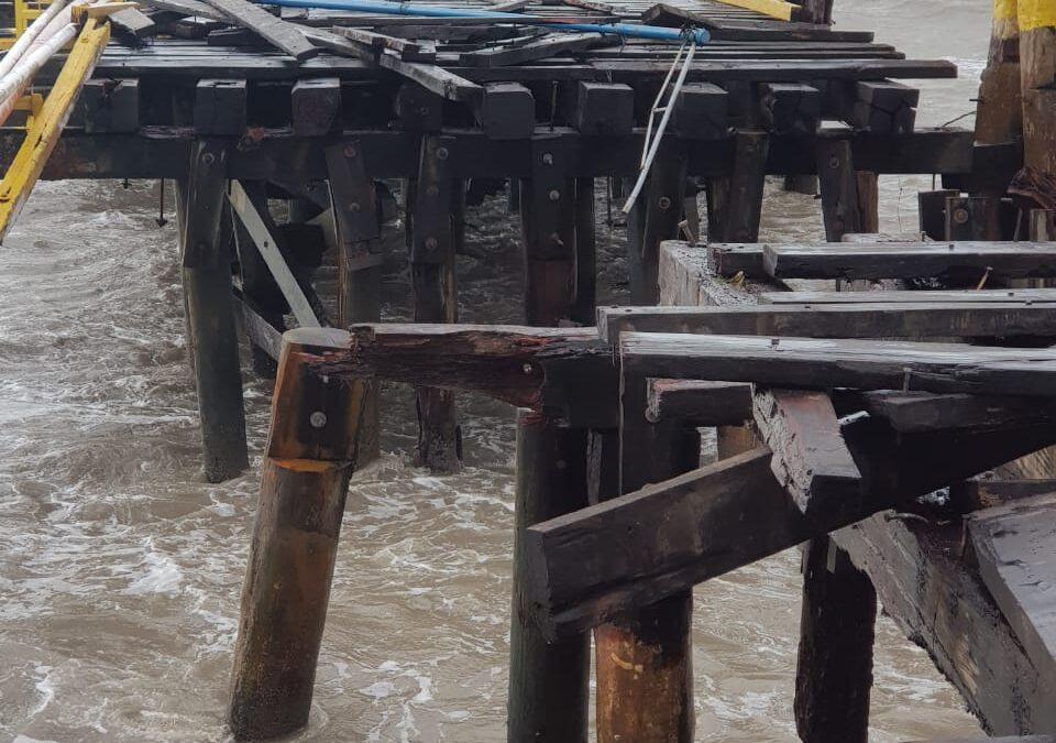 Cuantiosas pérdidas en el muelle de Bilwi tras paso del huracán Eta