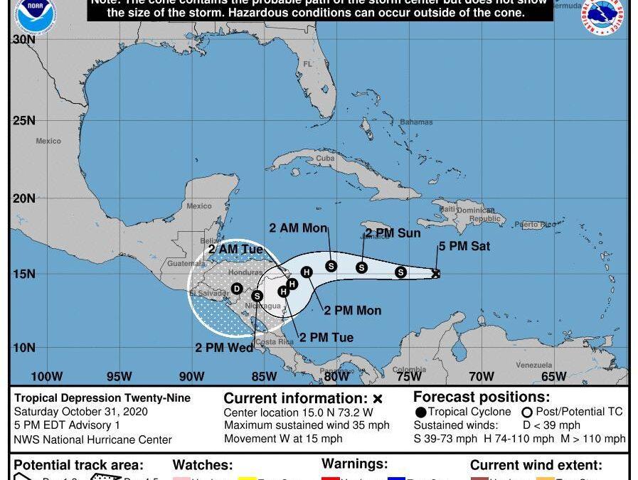 Eta impactaría en Nicaragua como huracán categoría uno