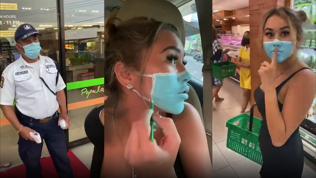 Influencers burlan la seguridad de un supermercado al pintarse una mascarilla en su rostro