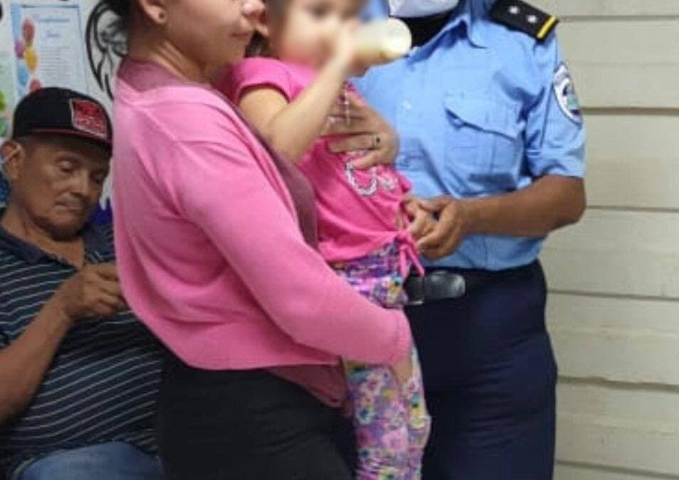 Policía Nacional rescata a niña raptada en Juigalpa