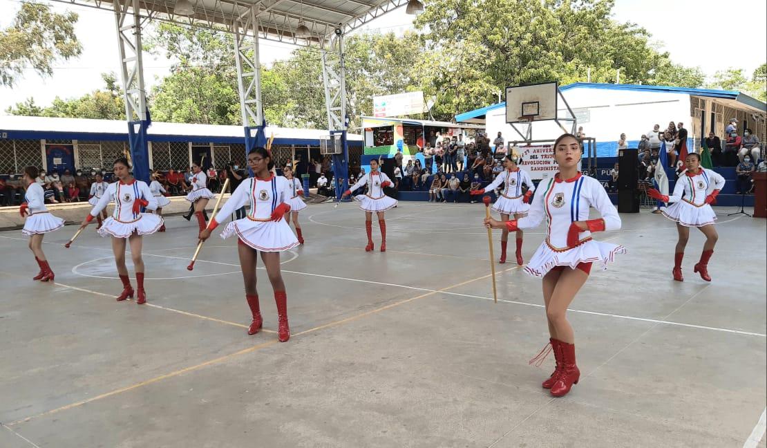 Banda rítmica realiza presentación en saludo al 42/19 en Managua