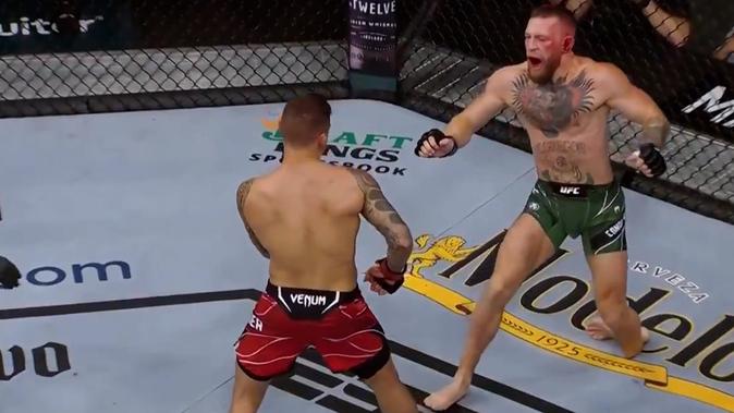 Con una grave fractura McGregor cae en el primer asalto ante Dustin Poirier