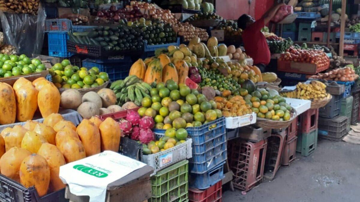 Mercado El Mayoreo abastecido con frutas tropicales, tubérculos y vegetales